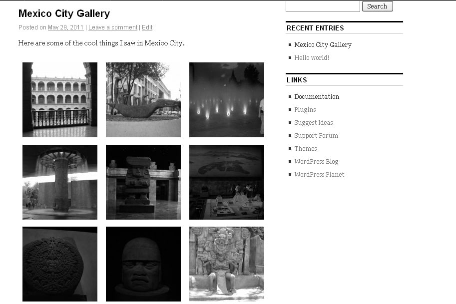 image gallery using the gallery post format in the Coraline theme