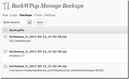 BackWPUp list of backups