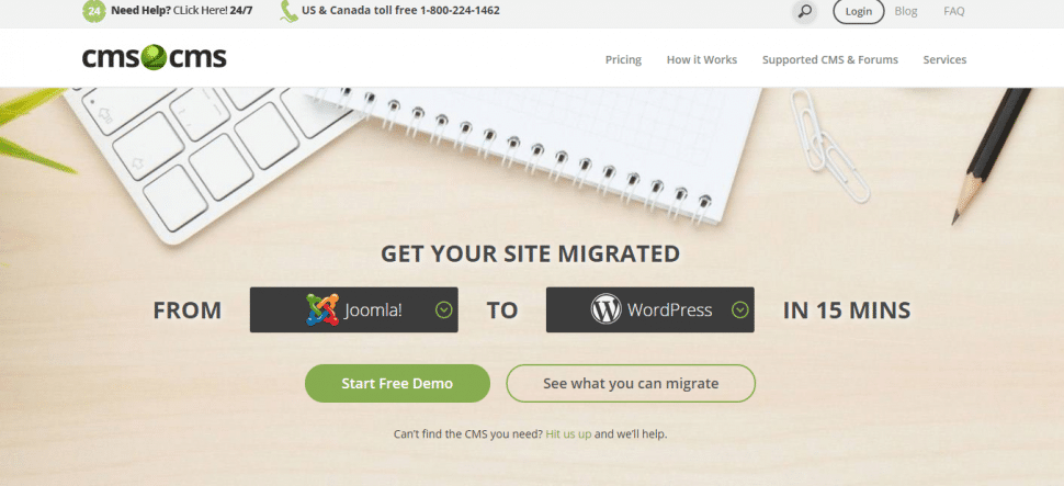 screenshot of CMS2CMS home page