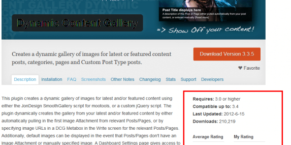 Details from the Dynamic Content Gallery page in the WordPress Plugin Repository