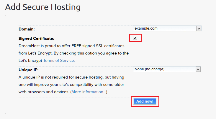 Add SSL through DreamHost control panel