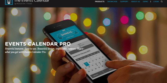 Events Calendar Pro Home Page Screenshot