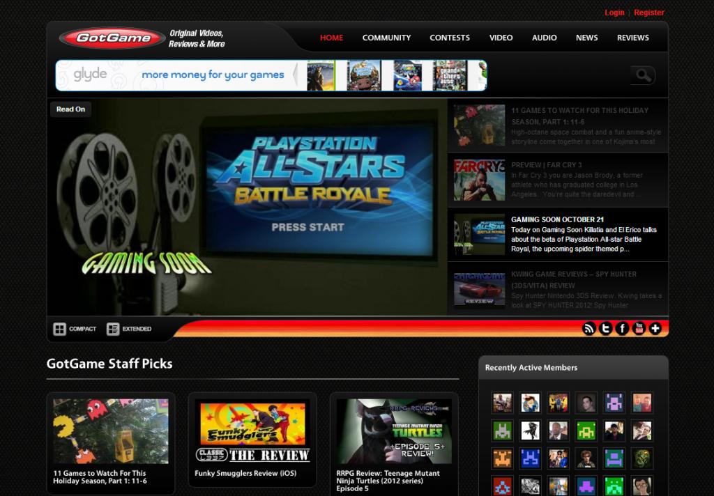 Got Game home page screenshot