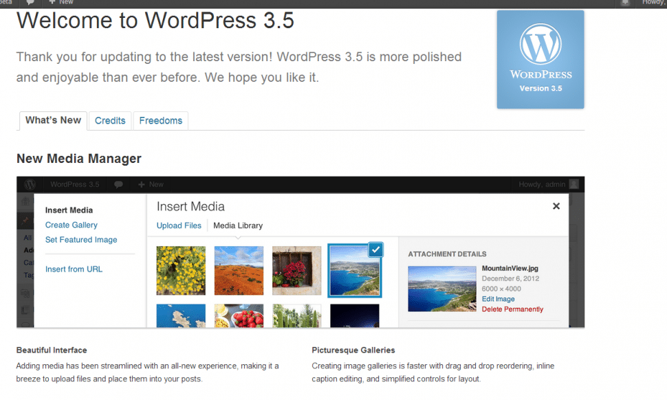 Screenshot of WordPress 3.5 welcome screen showing media manager
