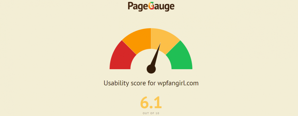 screenshot of PageGauge usability report for wpfangirl.com