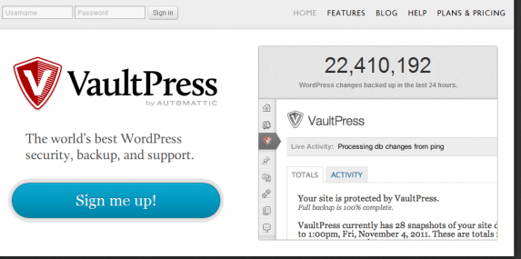 VaultPress home page screenshot