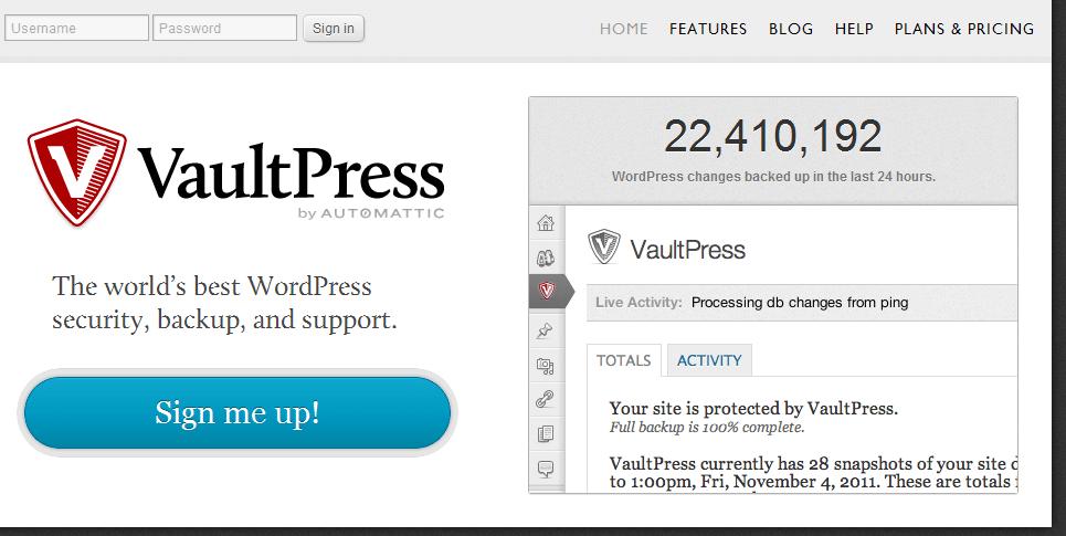 VaultPress home page screenshot