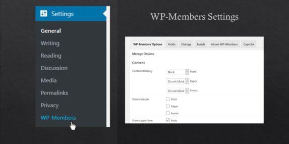 screenshot of WP-Members plugin options