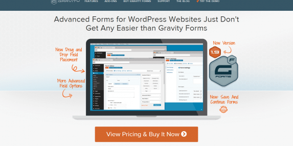 Gravity Forms Home Page Screenshot