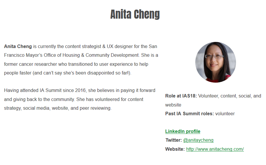 Anita Cheng's profile on the 2018 IA Summit website