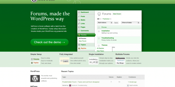 bbPress.org home page screenshot