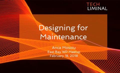 Designing for Maintenance starting slide