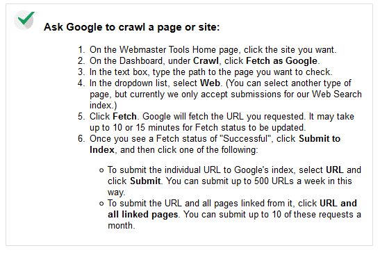 instructions to fetch site as Google