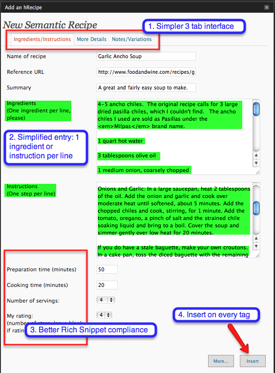 screenshot of the hrecipe plugin by Dave Doolin