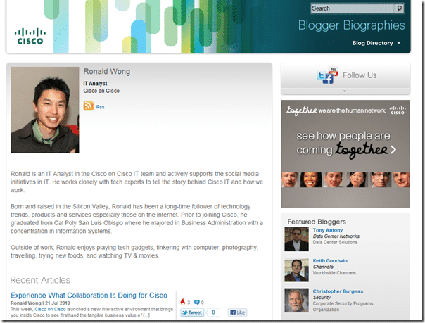 Cisco blog author page