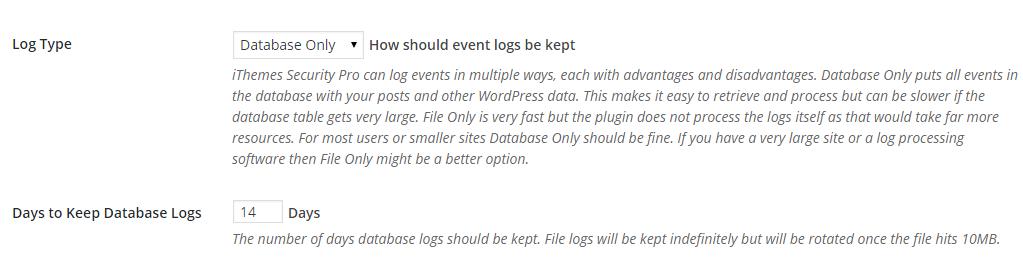 iThemes Security Log Settings