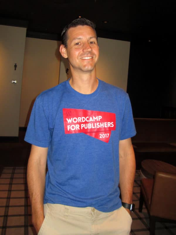 Meetup member (and sponsor) Matt Kopala wearing his WordCamp for Publishers T-shirt