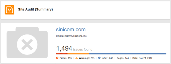 WebSite Auditor site audit summary for sinicom.com