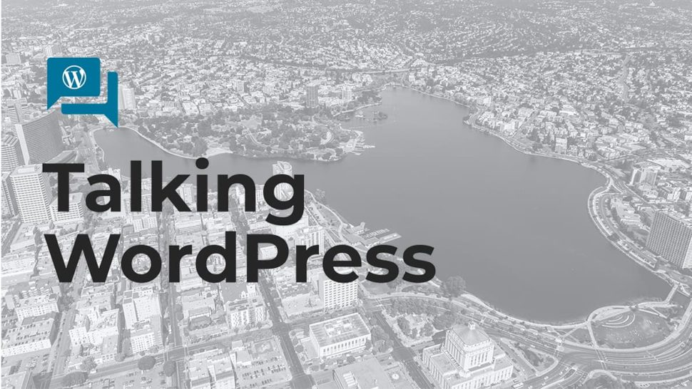 Talking WordPress: cover slide for speaker training