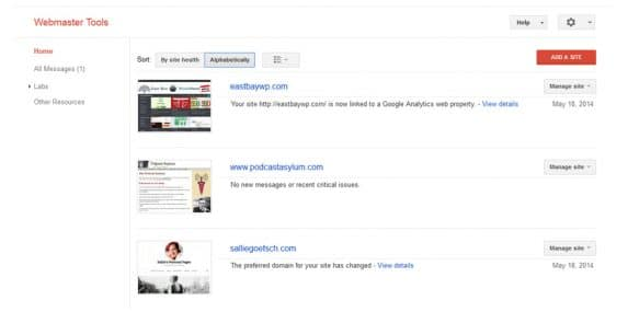 Google Webmaster Tools: main screen