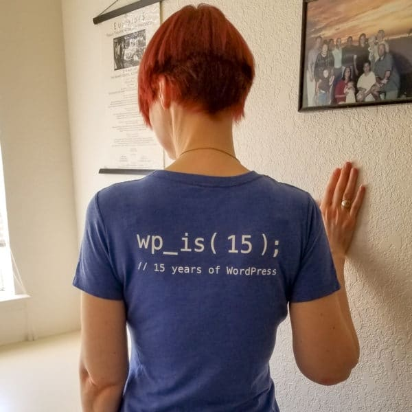 Sallie Goetsch in her #wp15 T-shirt